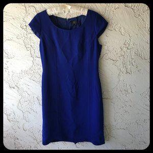Tahari Blue Scoop Neck Cap Sleeve Sheath Dress